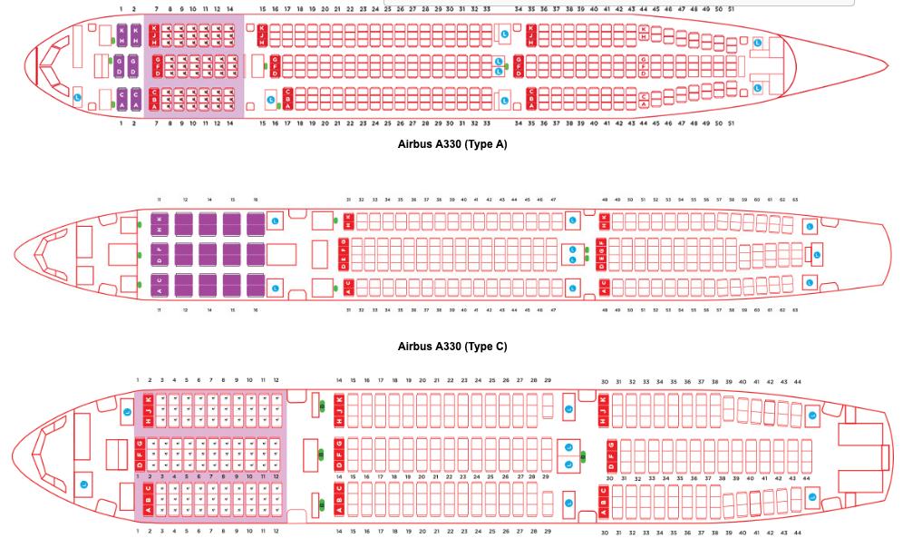 AirAsia X A330 Seat Maps