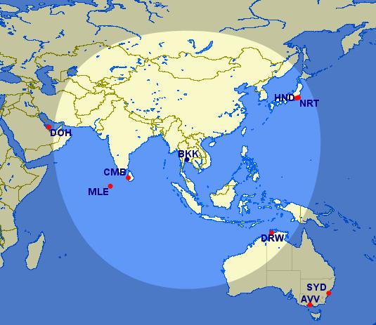 Bangkok 2.750 Meilen Radius