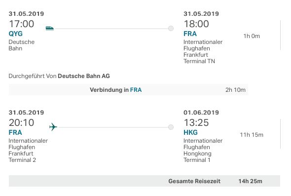 Cathay Pacific Rail & Fly Verbindung Frankfurt