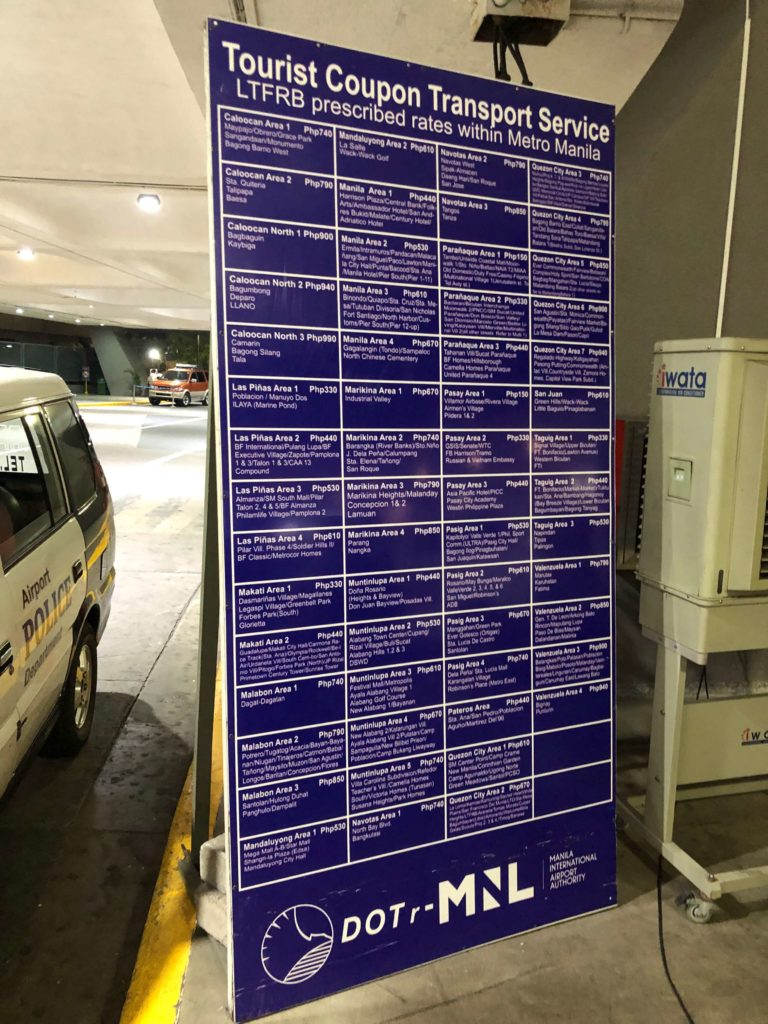 Coupon Taxi Flughafen Manila Preise