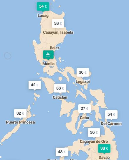 Flug buchen Philippinen Übersichtskarte