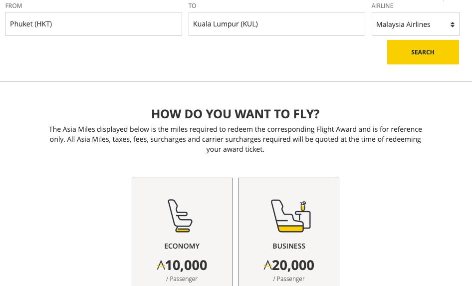 Flugsuche mit Nicht-Partnerairlines bei Asia Miles