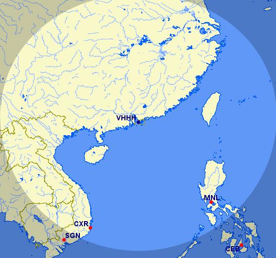 Hong Kong Manila Cebu Meilengrenze 750nm