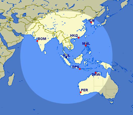 Kuala Lumpur 2750 Meilen Radius