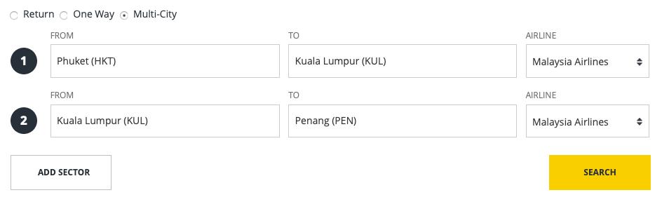 Malaysia Airlines Phuket - KUL - Penang