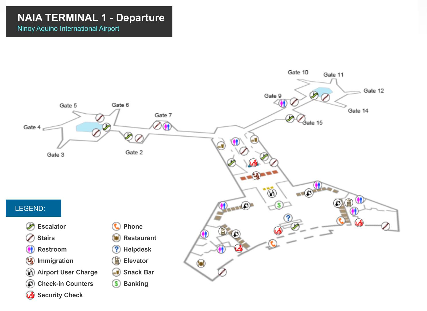 Manila Flughafen Terminal 1 Karte NAIA 1 - Abflugbereich