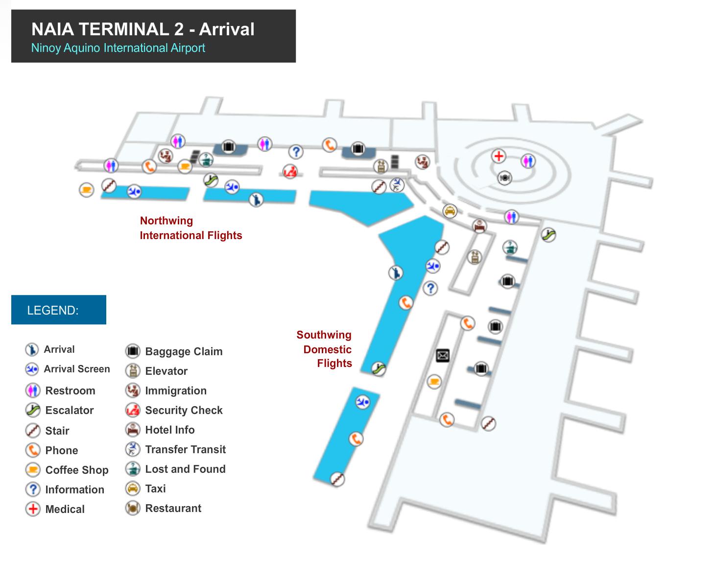 Manila Flughafen Terminal 2 Ankunftsbereich Karte