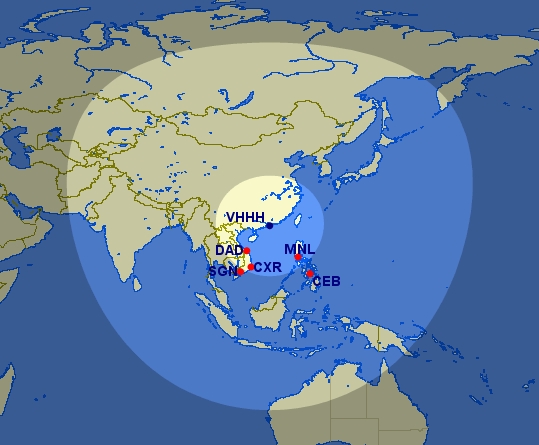 Mehrere Kreise um einen Flughafen bei GCmap.com