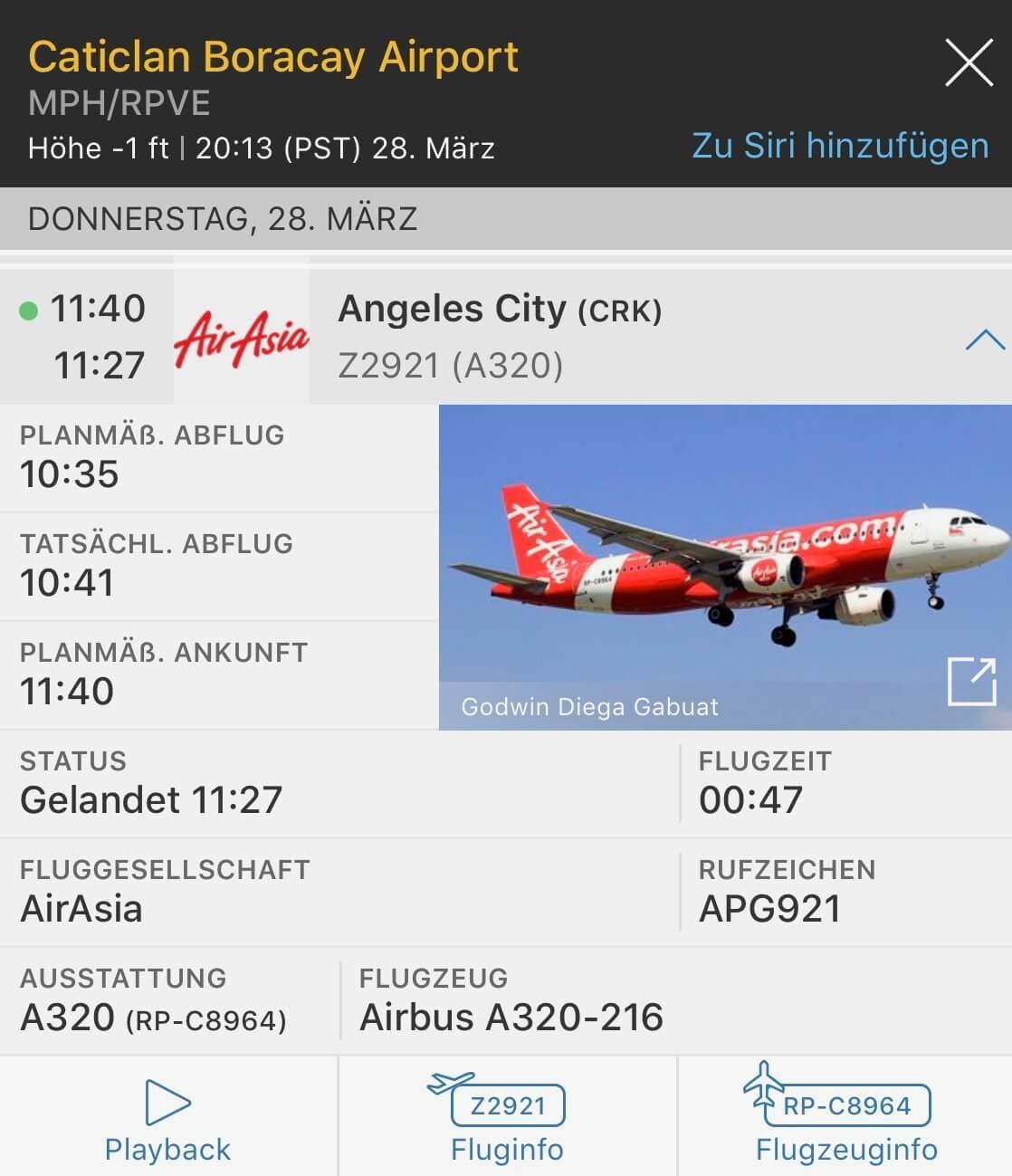 Philippines AirAsia Erfahrungen & Test (CRK-MPH) Z2921 Tripreport Flugdaten