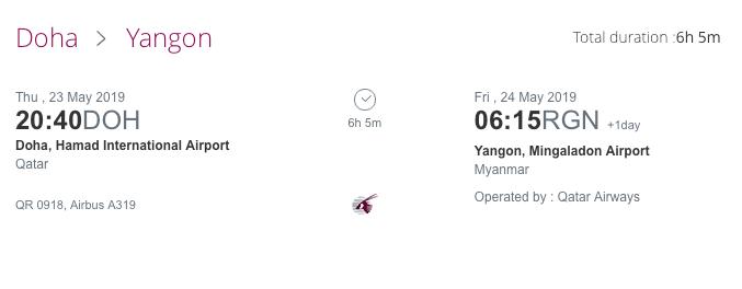 Qatar Airways Yangon Myanmar nach Doha