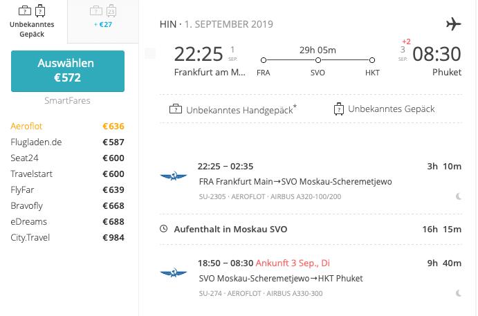 Anbieterauswahl Flugsuche - Auch Airline