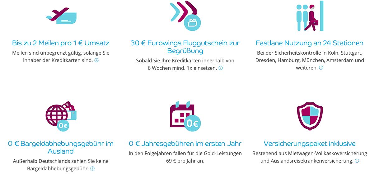 Eurowings Kreditkarte Gold Vorteile