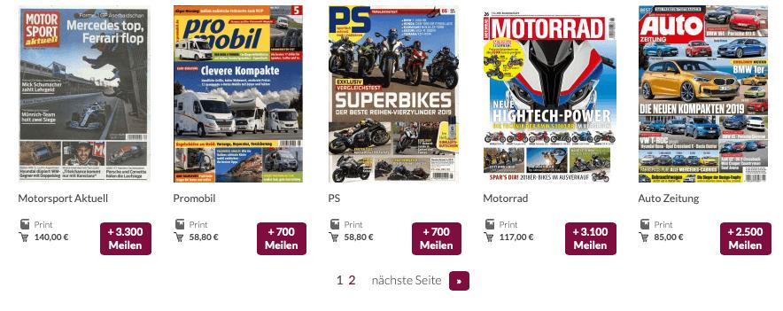 Eurowings Zeitschriften Abos Meilen sammeln