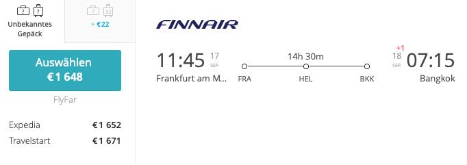 Finnair FRA- BKK Business Class Asia Miles