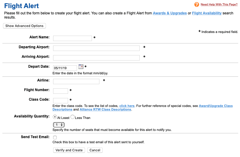 Flight Alert Setup Expert Flyer