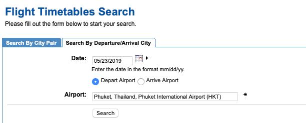 Flugplan Suchmaske Airport