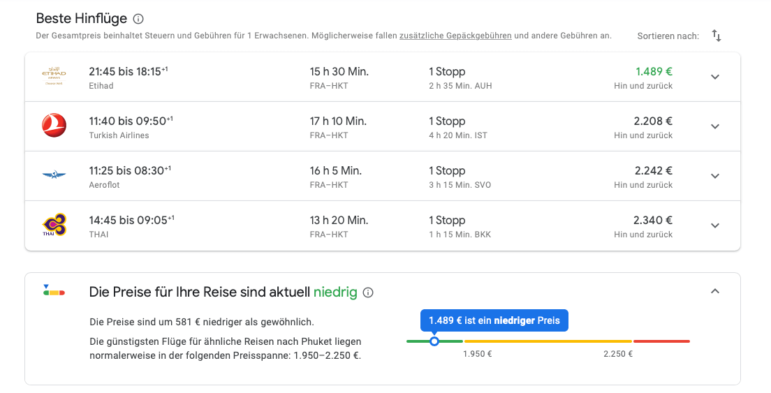 Google Flights Suche nach Ticketpreis