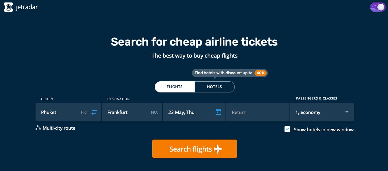 Jetradar Website Suche