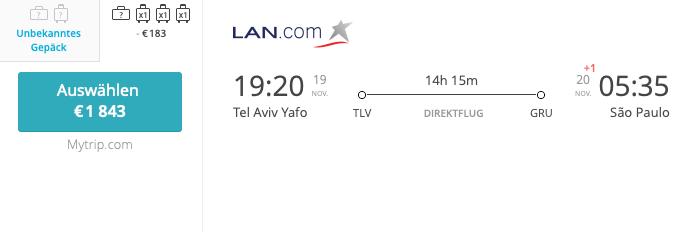 Latam LAN TLV - GRU Business Class