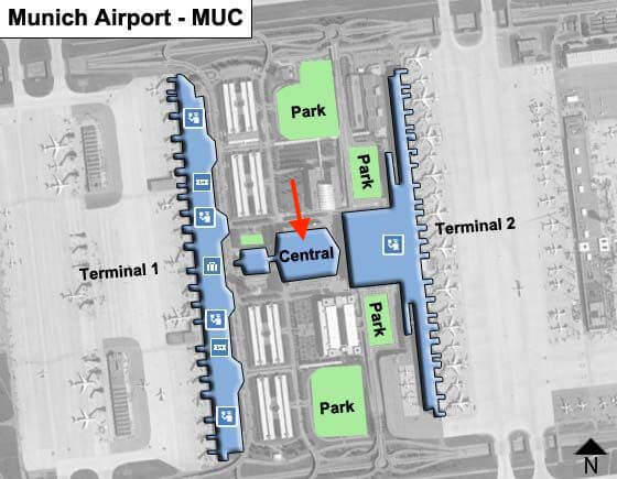 München Airport Map Central