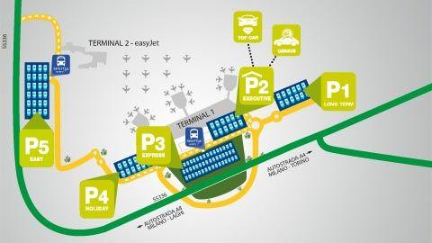 Malpensa Airport Parkplätze Lageplan