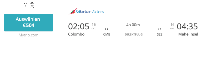 SriLankan CMB-SEZ Business Class