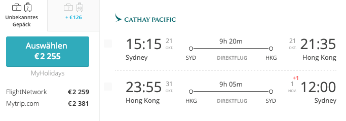 Sydney - Hong Kong - Sydney Asia Miles