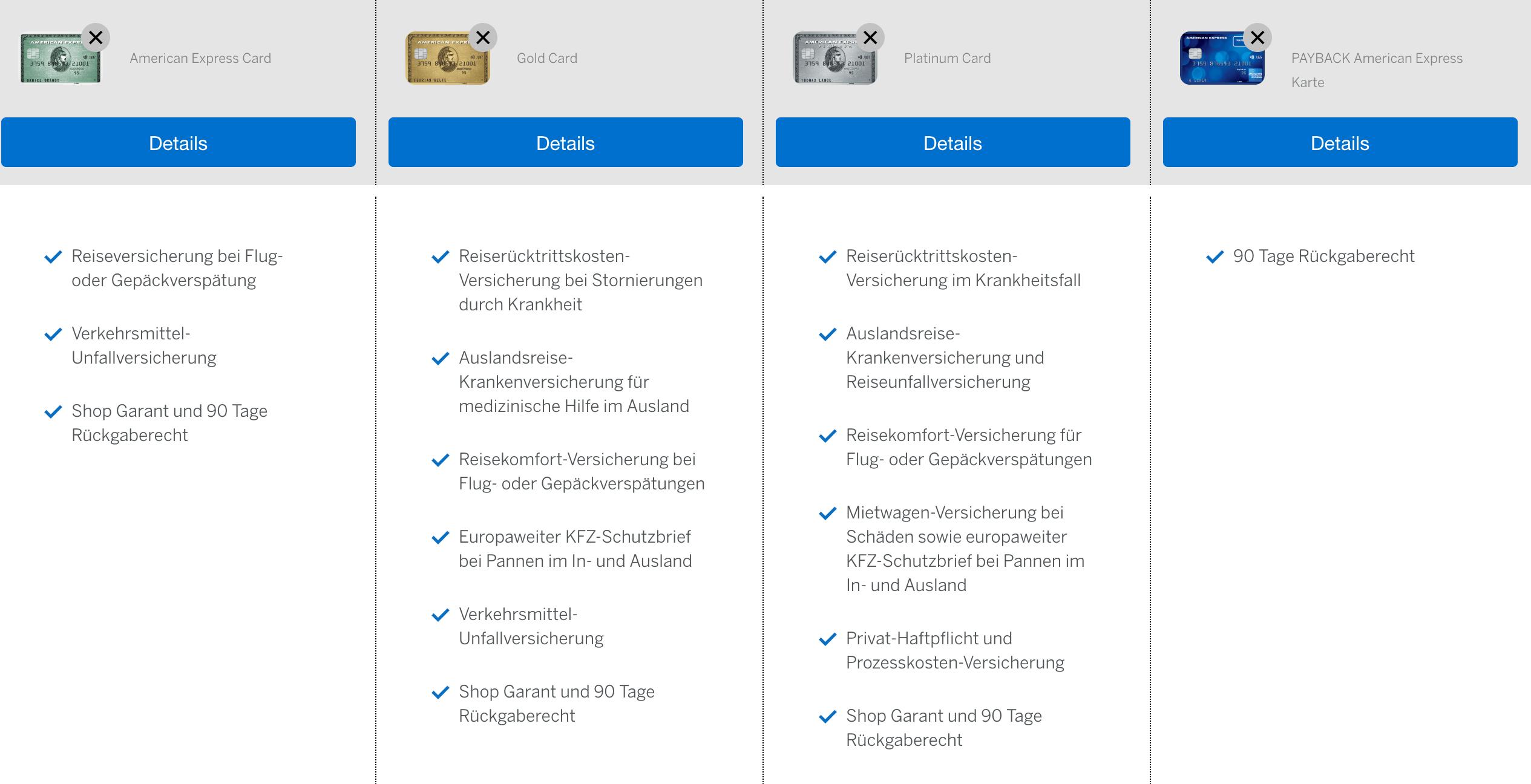 AMEX Versicherungspakete