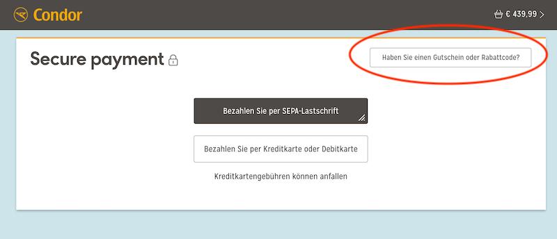 Condor Rabattcode einlösen - Button