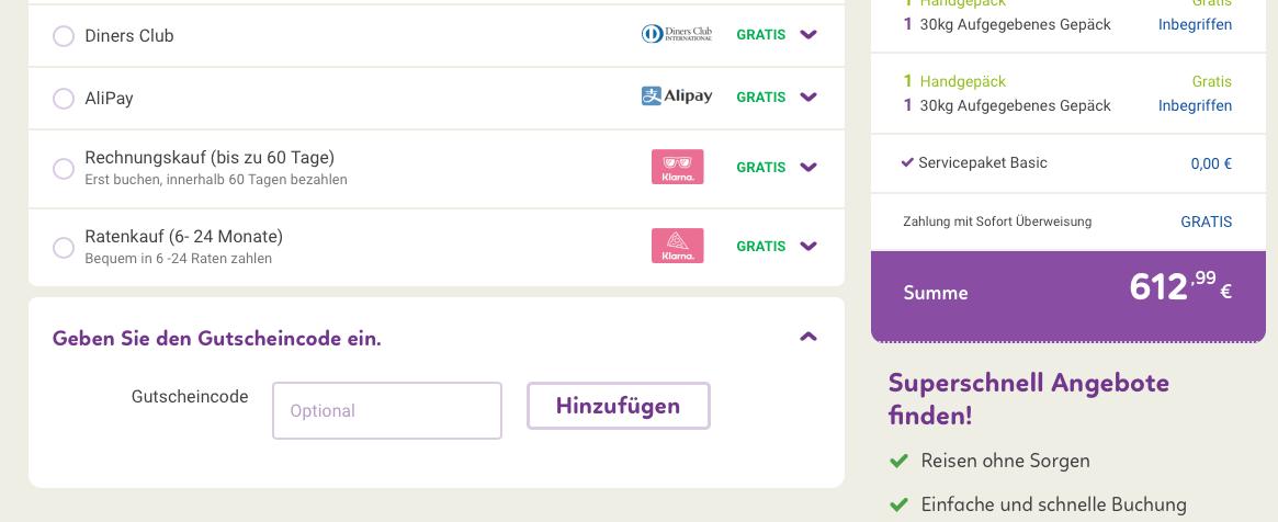Flugladen Gutschein Code - Letzte Seite vor Abschluss
