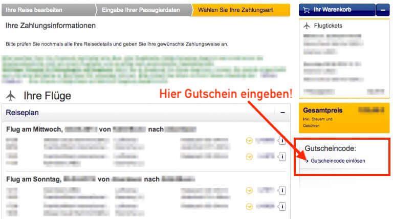 Lufthansa Gutschein einlösen - Anleitung