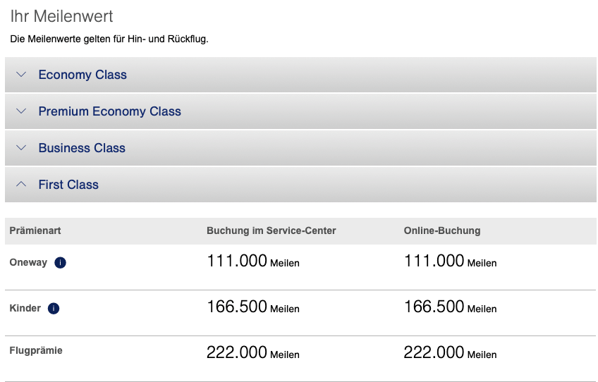 Meilenwert Tokio First Class