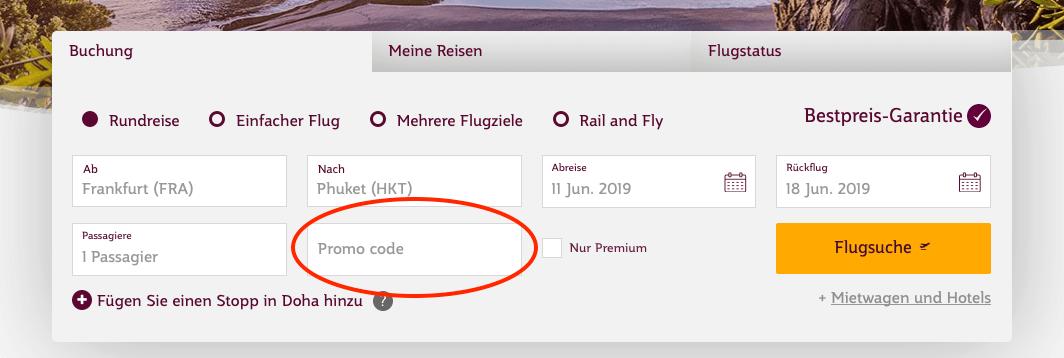 Qatar Airways Promocode Einlösen Flugsuche
