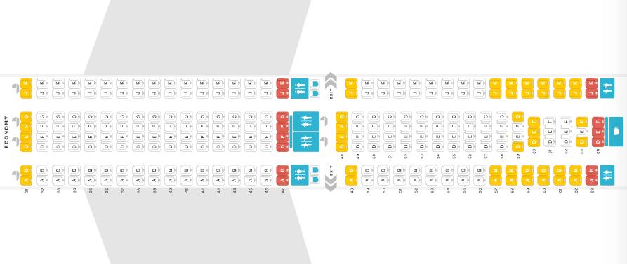 Airbus A330 Economy Thai Airways Seat Map