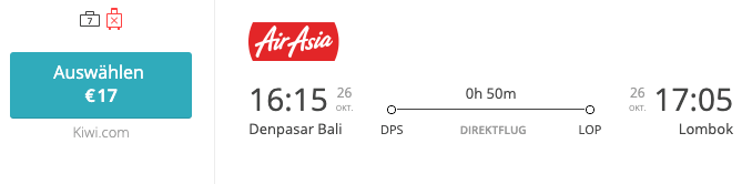 Denpasar Lombok Inlandsflug Indonesien