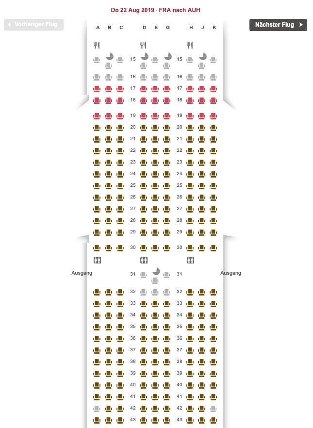 Etihad Sitzplatzreservierung Seat Map