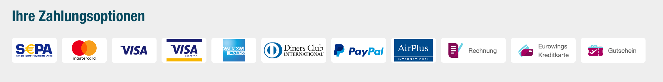 Eurowings Zahlungsmittel ohne Kreditkarte