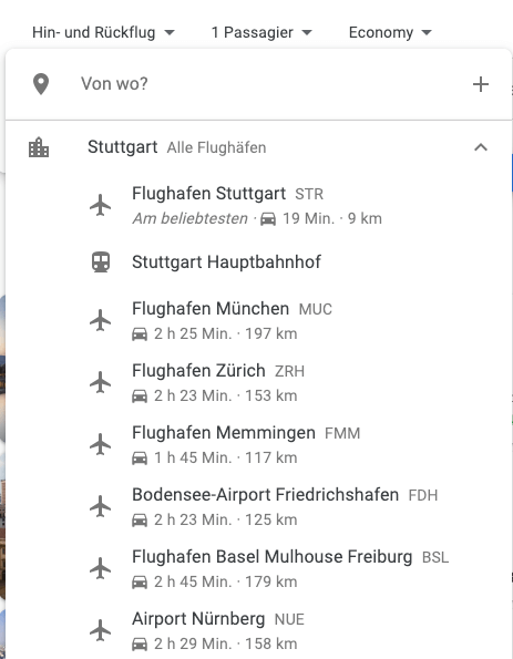 Google Flights Flugsuche Airports in der Nähe