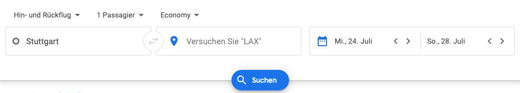 Google Flights Suche erstellen
