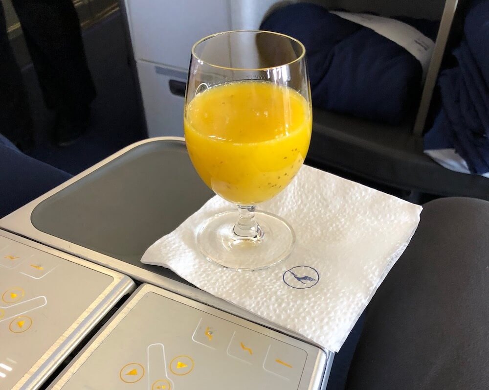 Lufthansa Business Class A330 Welcome Drink