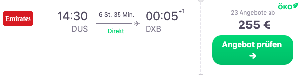 Positionierung Abu Dhabi via Dubai Direktflug