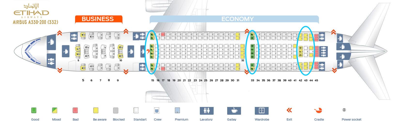 Seat Map Airbus A330-200 Etihad Airways
