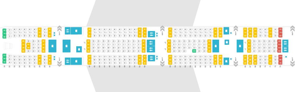 Thai Airways Airbus A380 Seat Map Unterdeck Economy