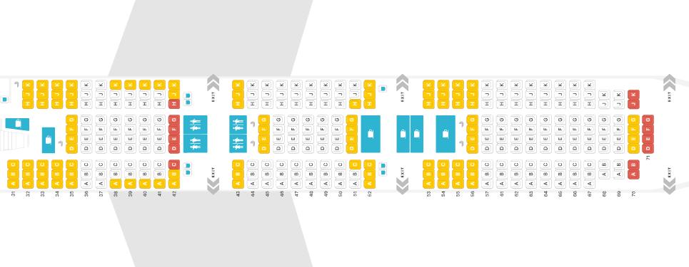 Thai Airways Boeing 747 Economy Class Seat Map