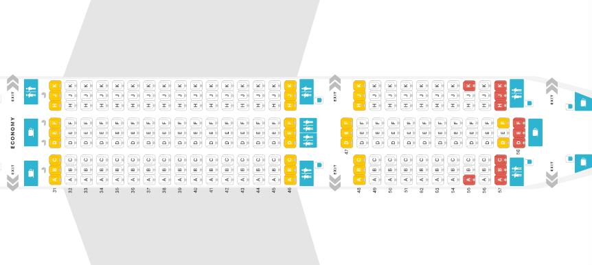 Thai Airways Boeing 787-8 Economy Class Seat Map