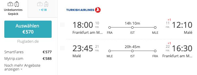 Turkish Airlines FRA-MLE Malediven Flug Preise
