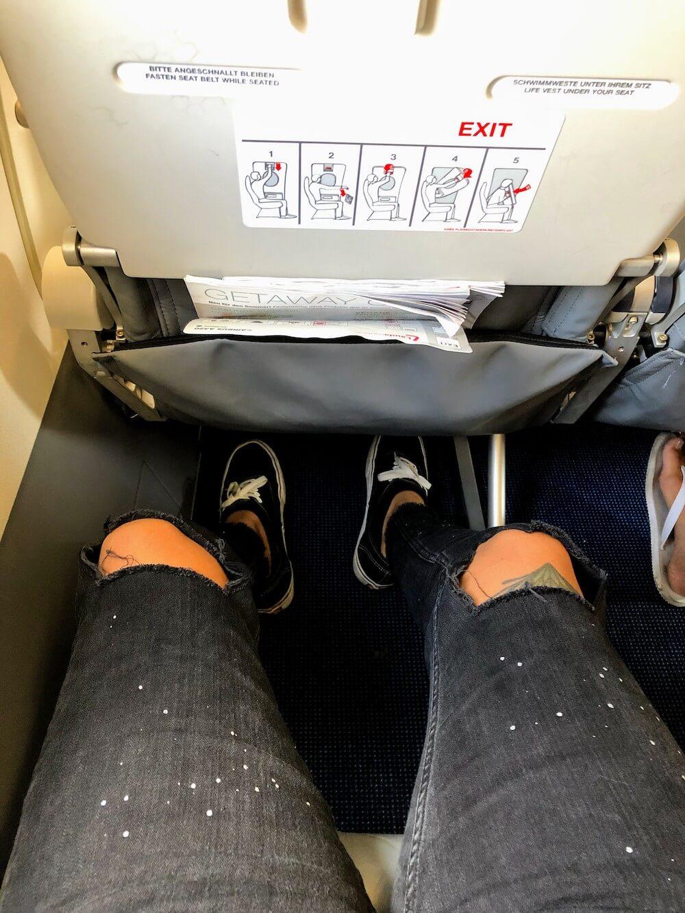 Beinfreiheit Laudamotion Airbus A320 Sitz mehr Beinfreiheit