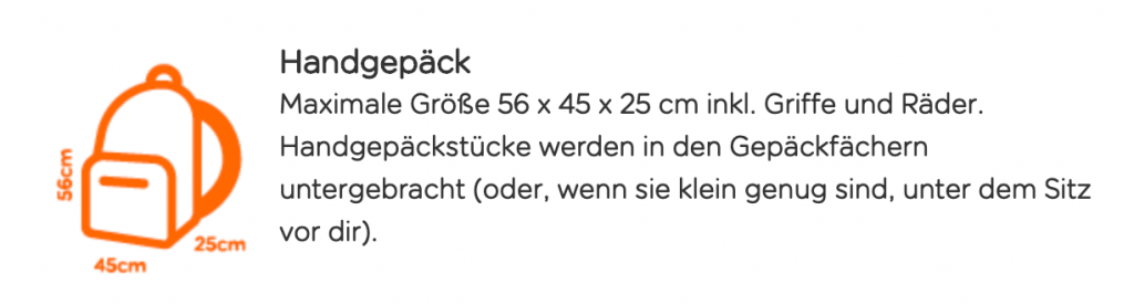 EasyJet Gepäck