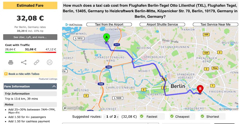Flughafen Berlin Taxi Anbindung Preis