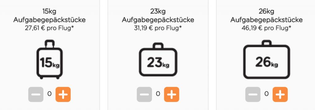 Gepäckpreise EasyJet